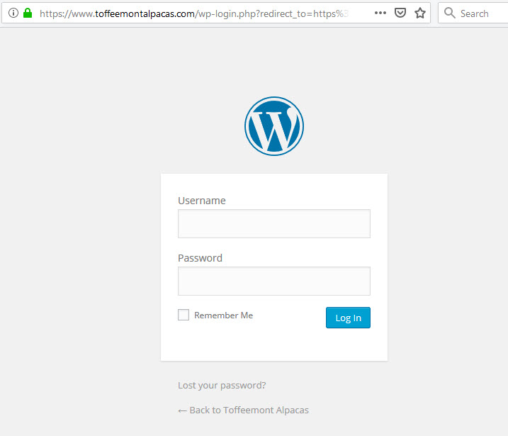 Wordpress login screen after change of site address