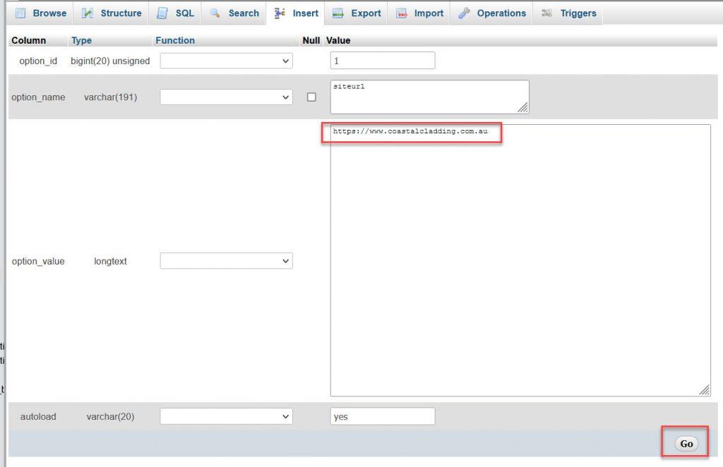 phpMyAdmin edit row value for siteurl